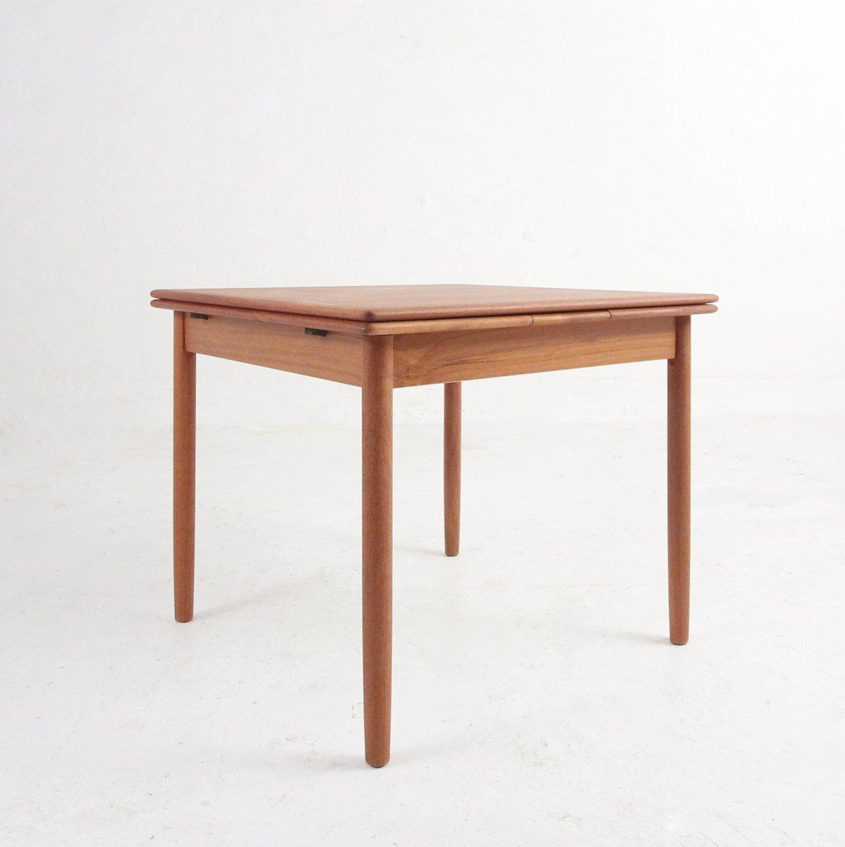 Ausziehbarer quadratischer Vintage Esstisch aus Teak