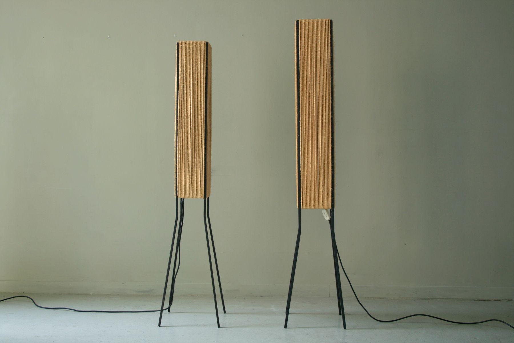 Stehlampen aus Papierkordel, 1959, 2er Set