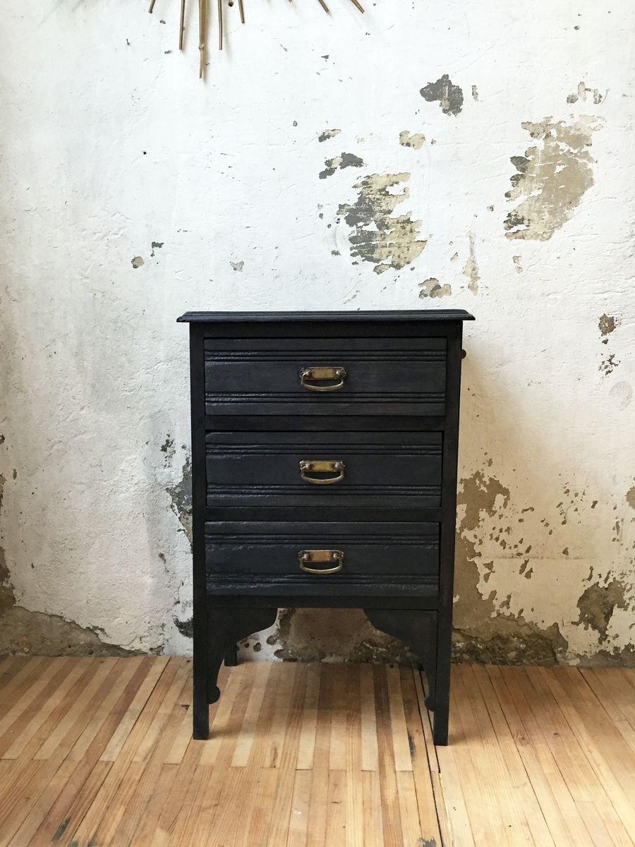 Schwarze Vintage Kommode aus Holz