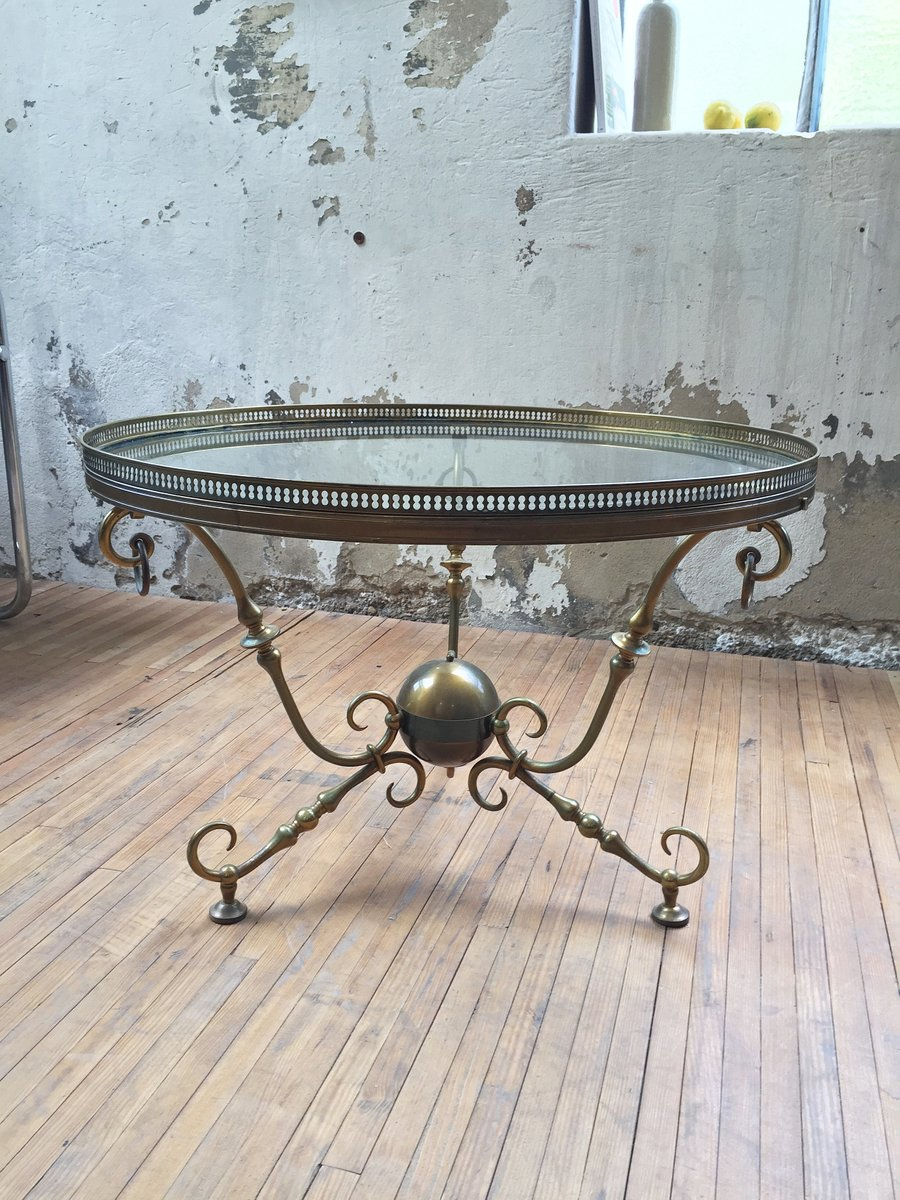 Vintage Couchtisch aus Bronze & Glas von Petitot