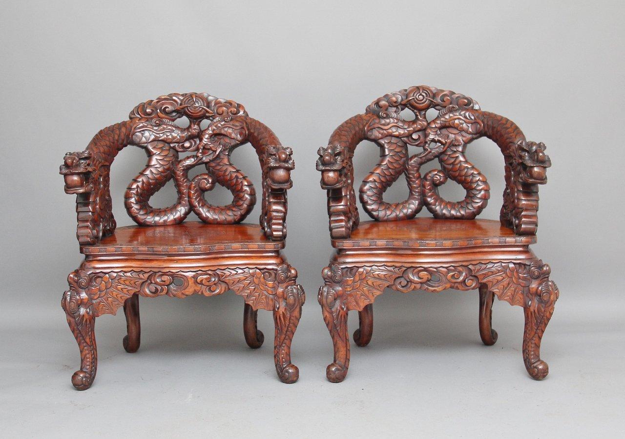 antike geschnitzte chinesische st hle 2er set bei pamono kaufen. Black Bedroom Furniture Sets. Home Design Ideas