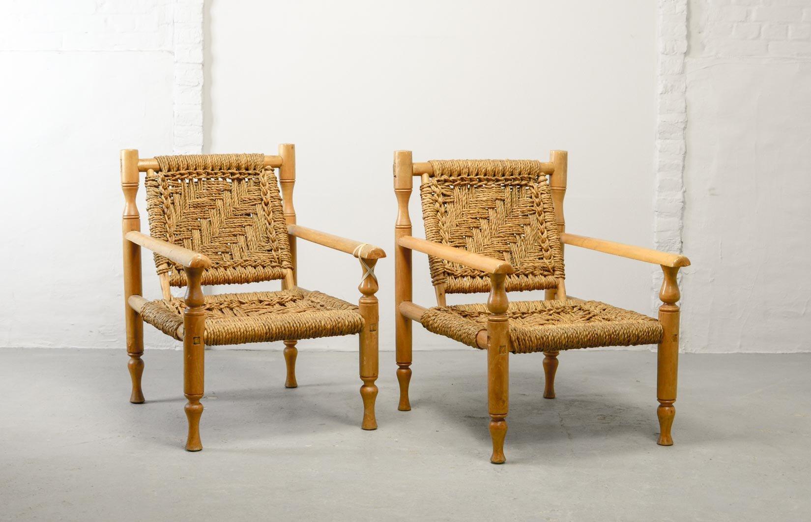 Sessel aus Buche & Sisal, 1960er, 2er Set