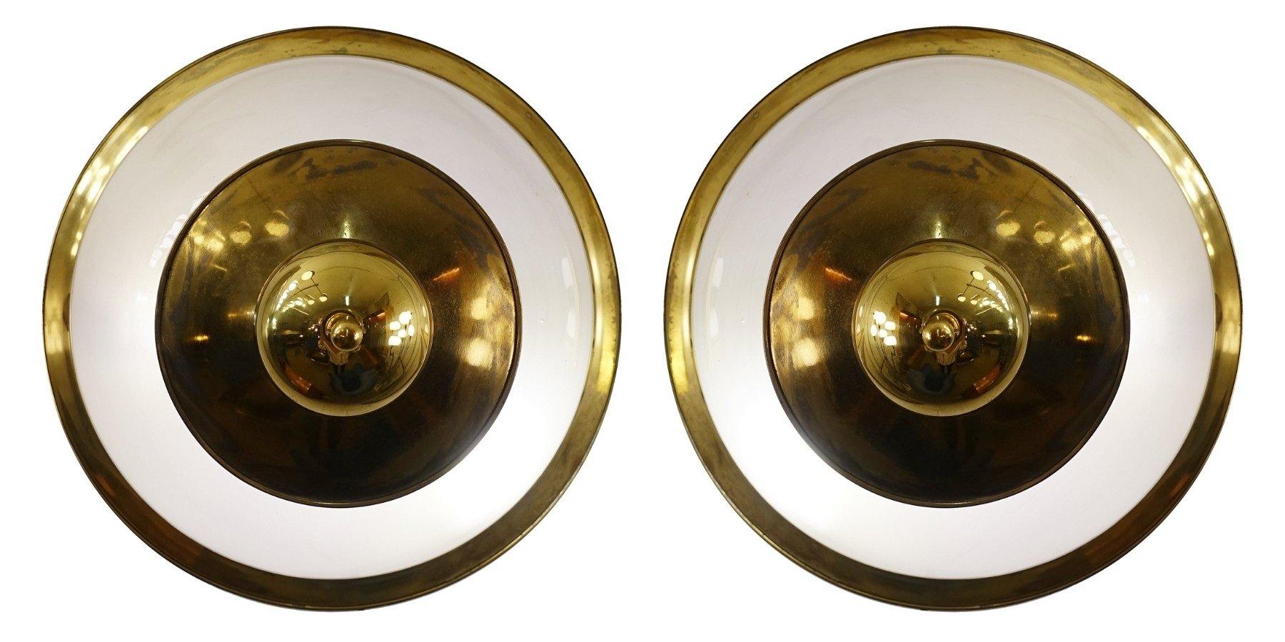 Vintage Lampen aus Messing & Milchglas von Luigi Caccia Dominioni für ...
