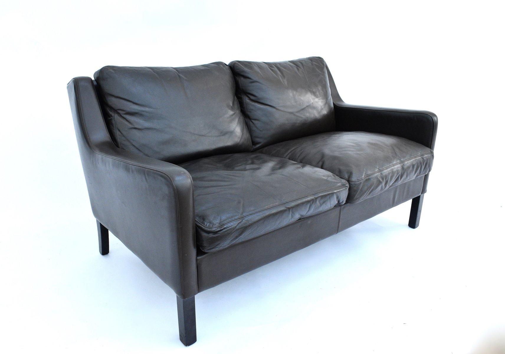 Danish Dark Brown Leather 2 Seater Sofa From Thams Kvalitet 1960s