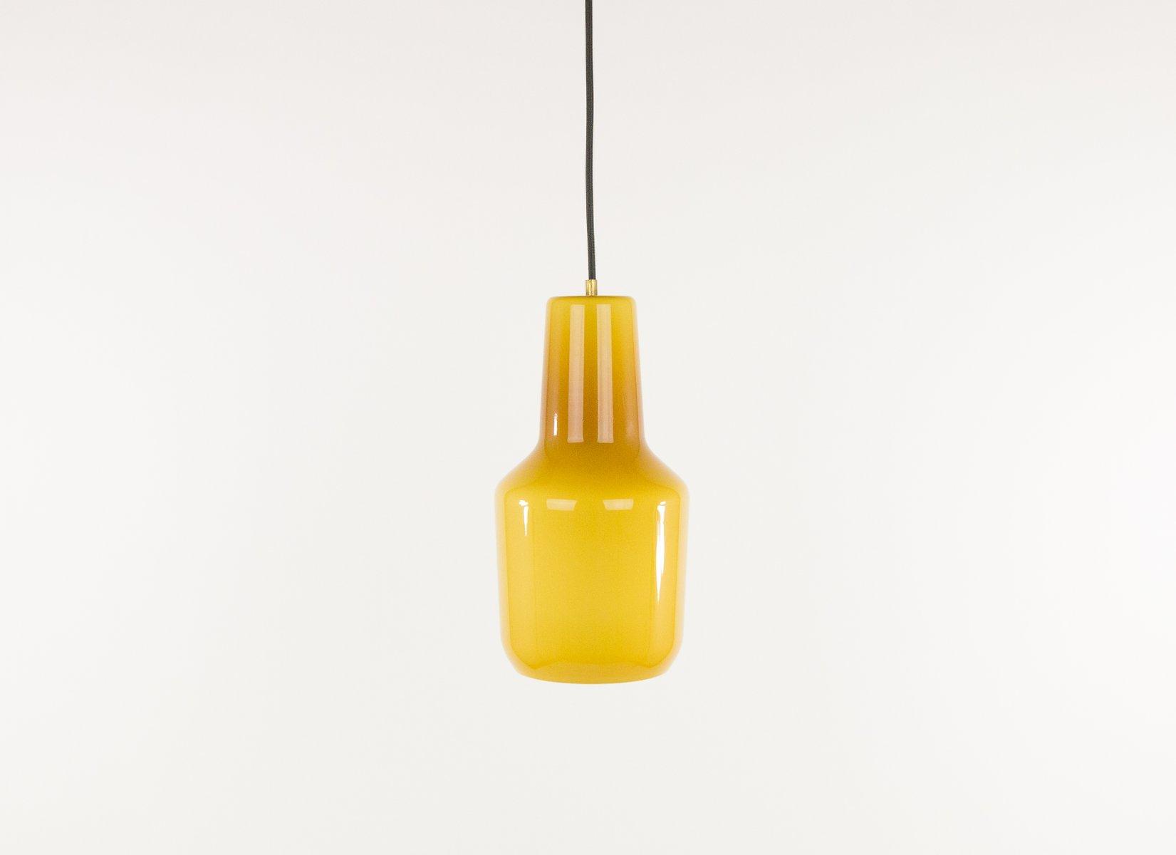 Bernsteinfarbene Hängelampe aus Muranoglas von Massimo Vignelli für Ve...