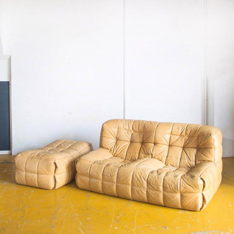 2 Sitzer Vintage Kashima Sofa Und Pouf Set Von Michel Ducaroy Für