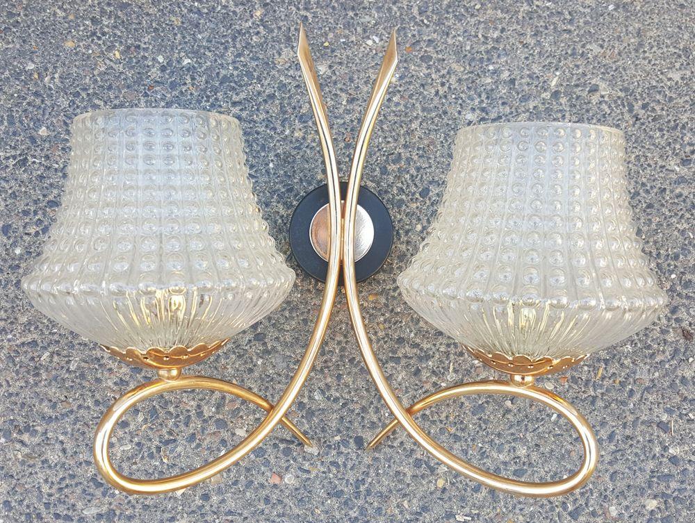Doppelte Wandlampe aus Metall und Messing von Arlus, 1950er