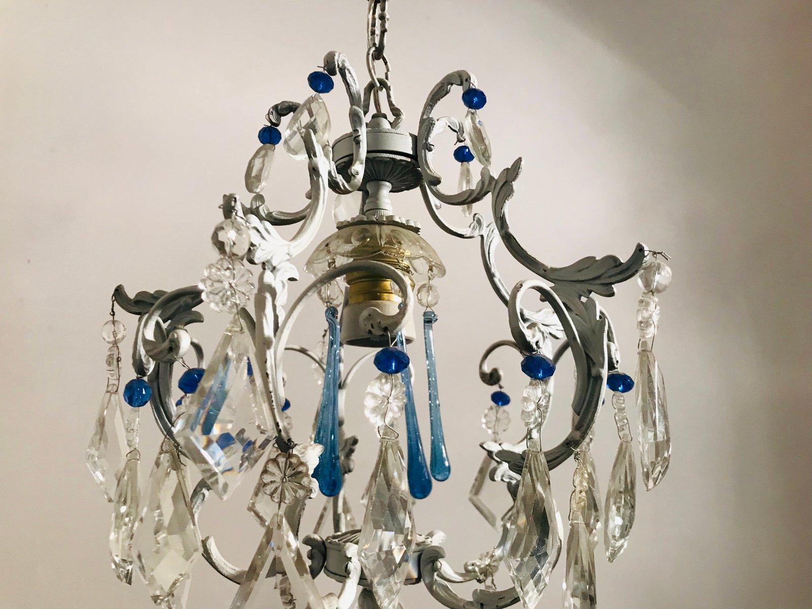 Lampadario vintage in cristallo di murano in vendita su pamono
