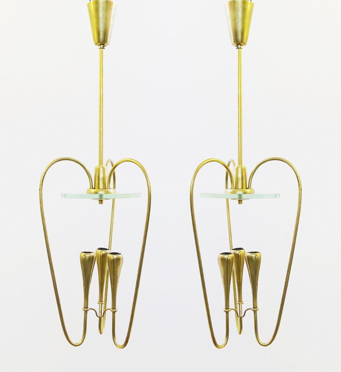 Italienische Hängelampen aus Messing & Glas, 1960er, 2er Set