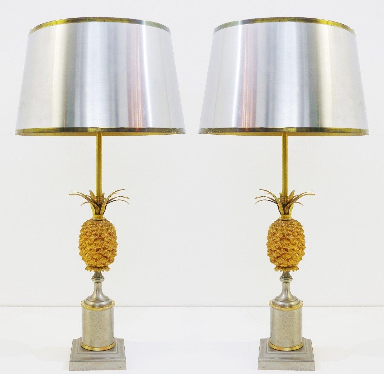 Vintage Pineapple Lamps, Set of 2