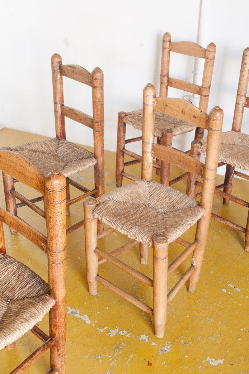 Spanish Handmade Wooden Chairs 1940s Set Of 6 Bei Pamono Kaufen