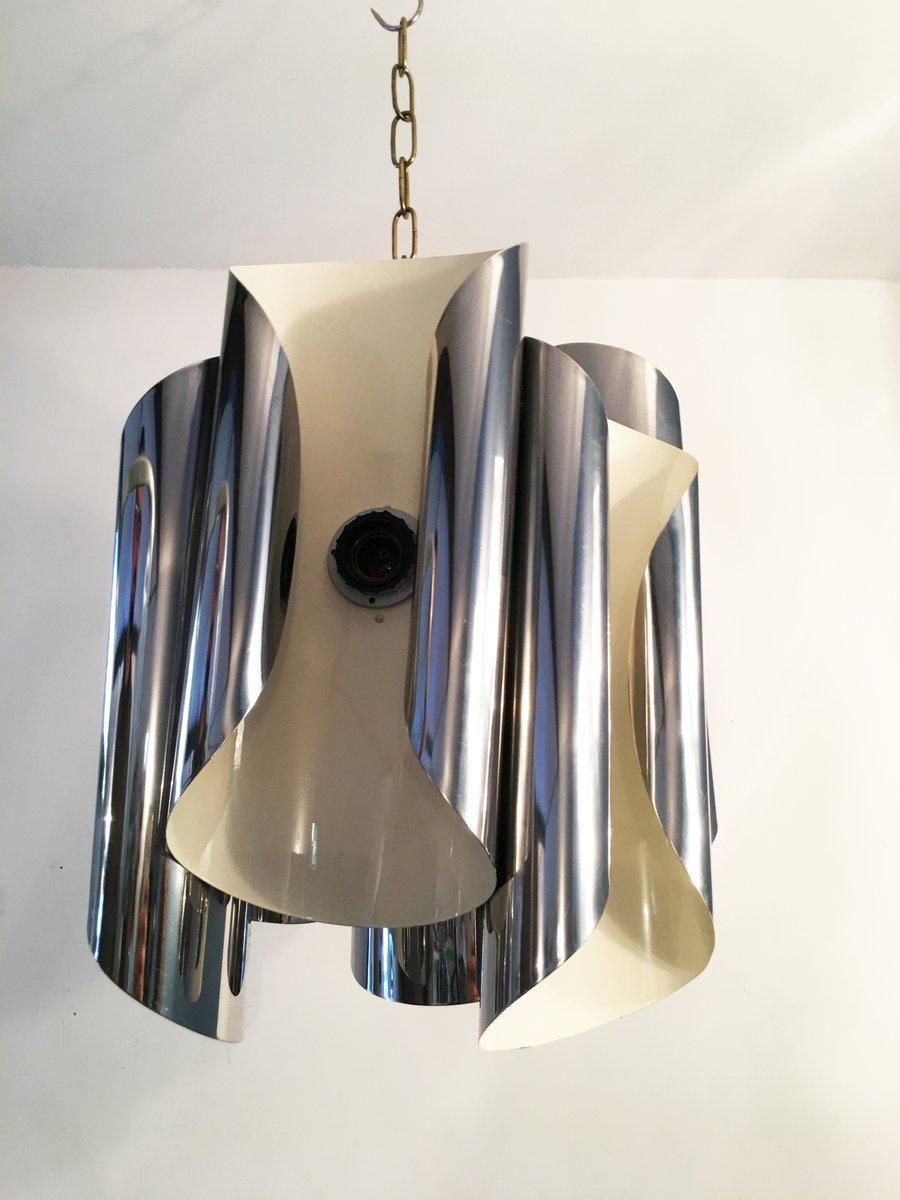 Deckenlampe aus verchromtem Stahl, 1950er
