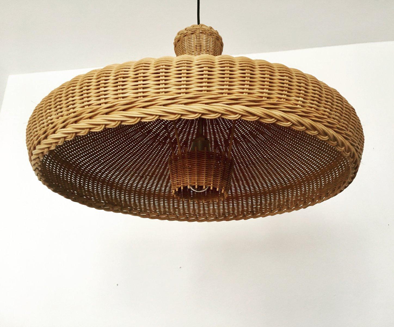 gro e h ngelampe aus geflecht mit reflektor 1960er bei pamono kaufen. Black Bedroom Furniture Sets. Home Design Ideas