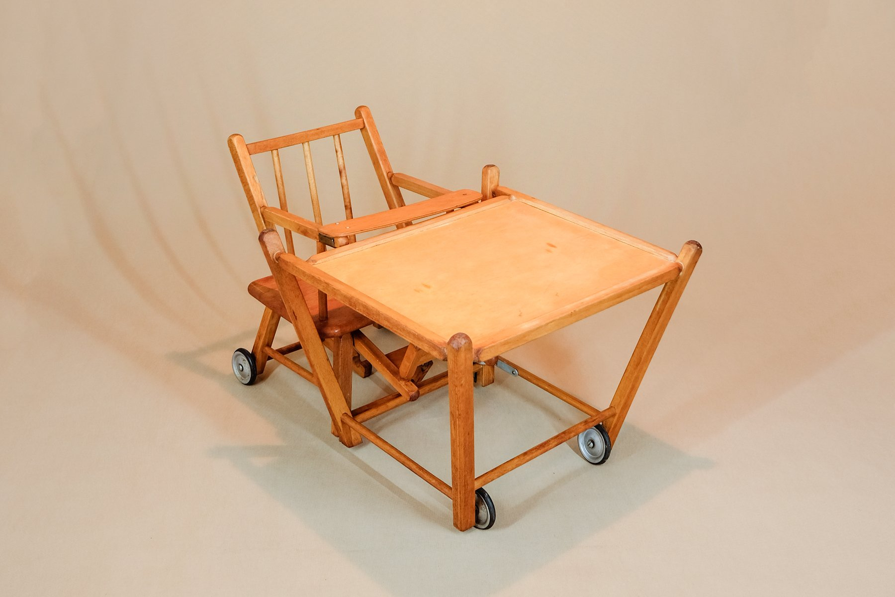 Chaise Haute Table En Bois 1900s