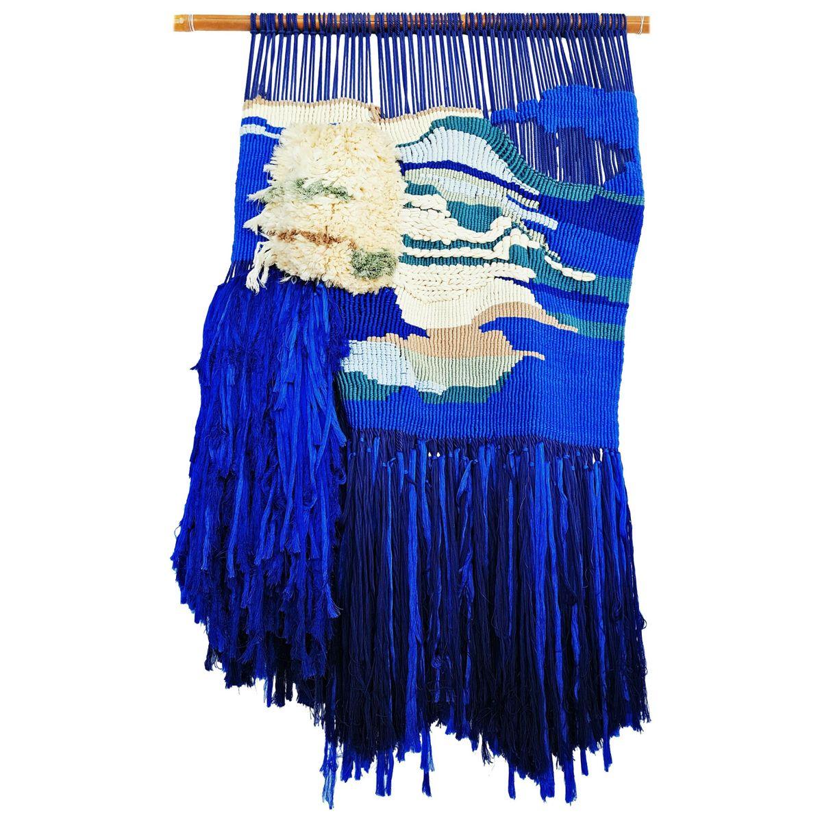 Großer indigoblauer Wandteppich, 1960er | Heimtextilien > Teppiche > Wandteppich | Mehrfarbig | Naturfaser