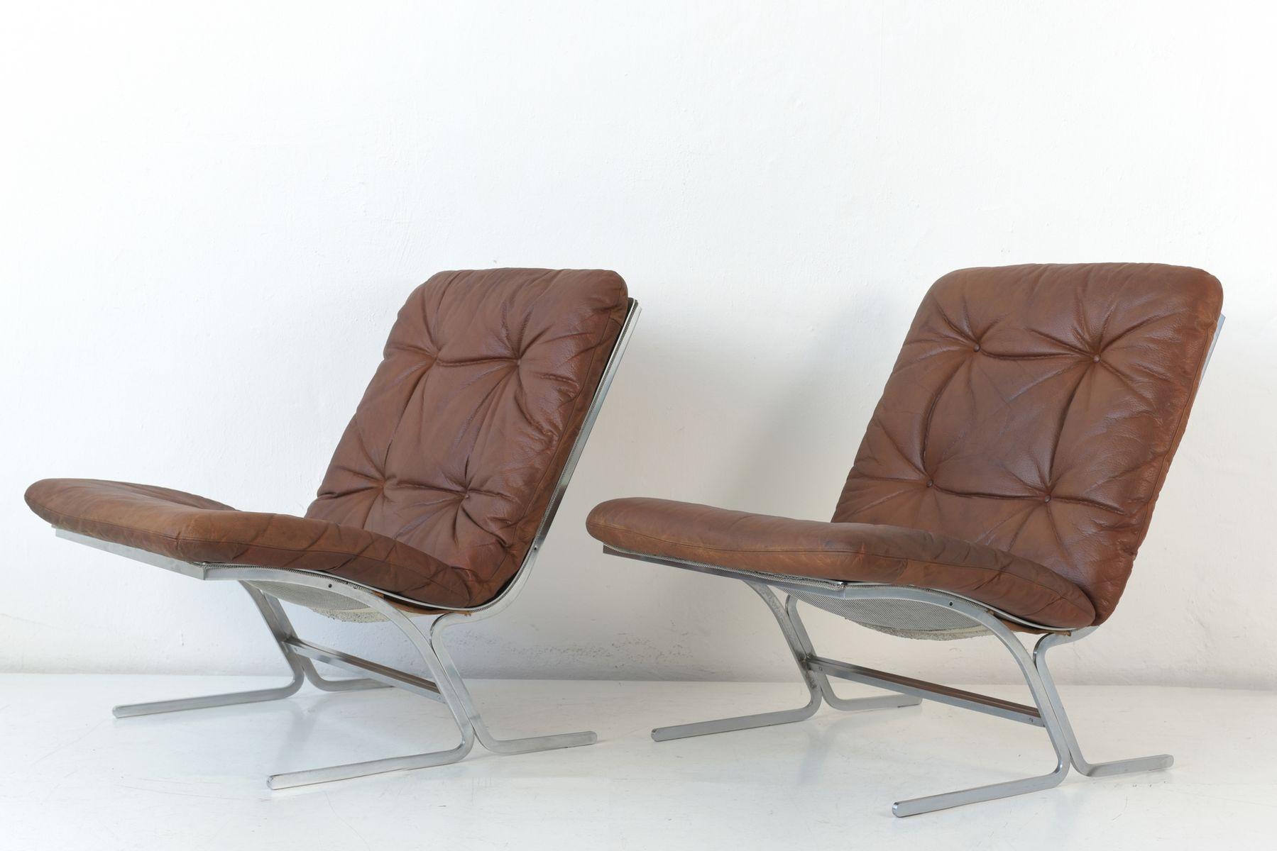 Sessel aus Leder & Flachstahl, 1970er, 2er Set