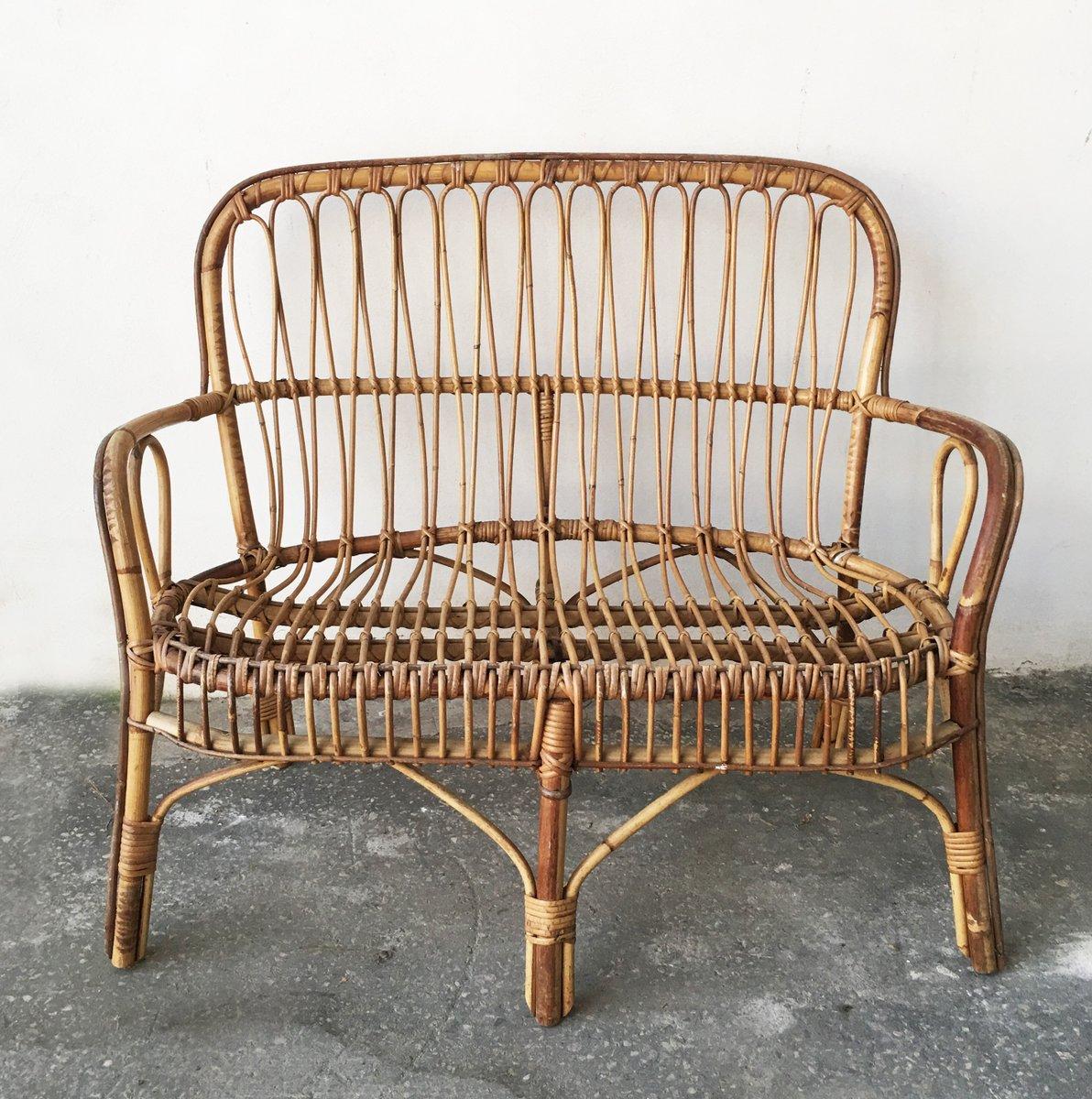 2-Sitzer Bank aus Bambus & Rattan, 1950er
