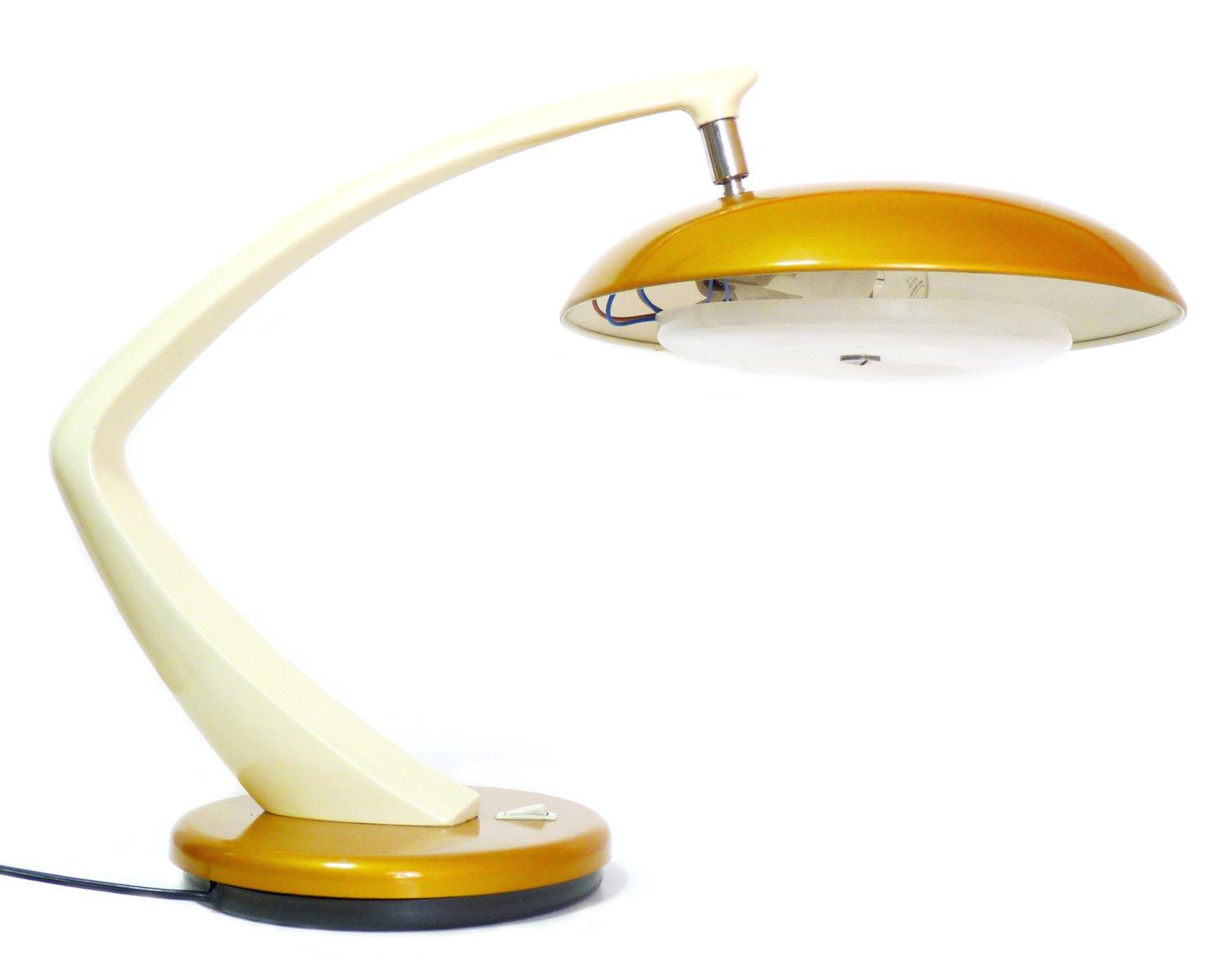 Vintage Boomerang 64 Schreibtischlampe in Senfgelb von Fase | Lampen > Bürolampen | Gelb | Kunststoff | Fase
