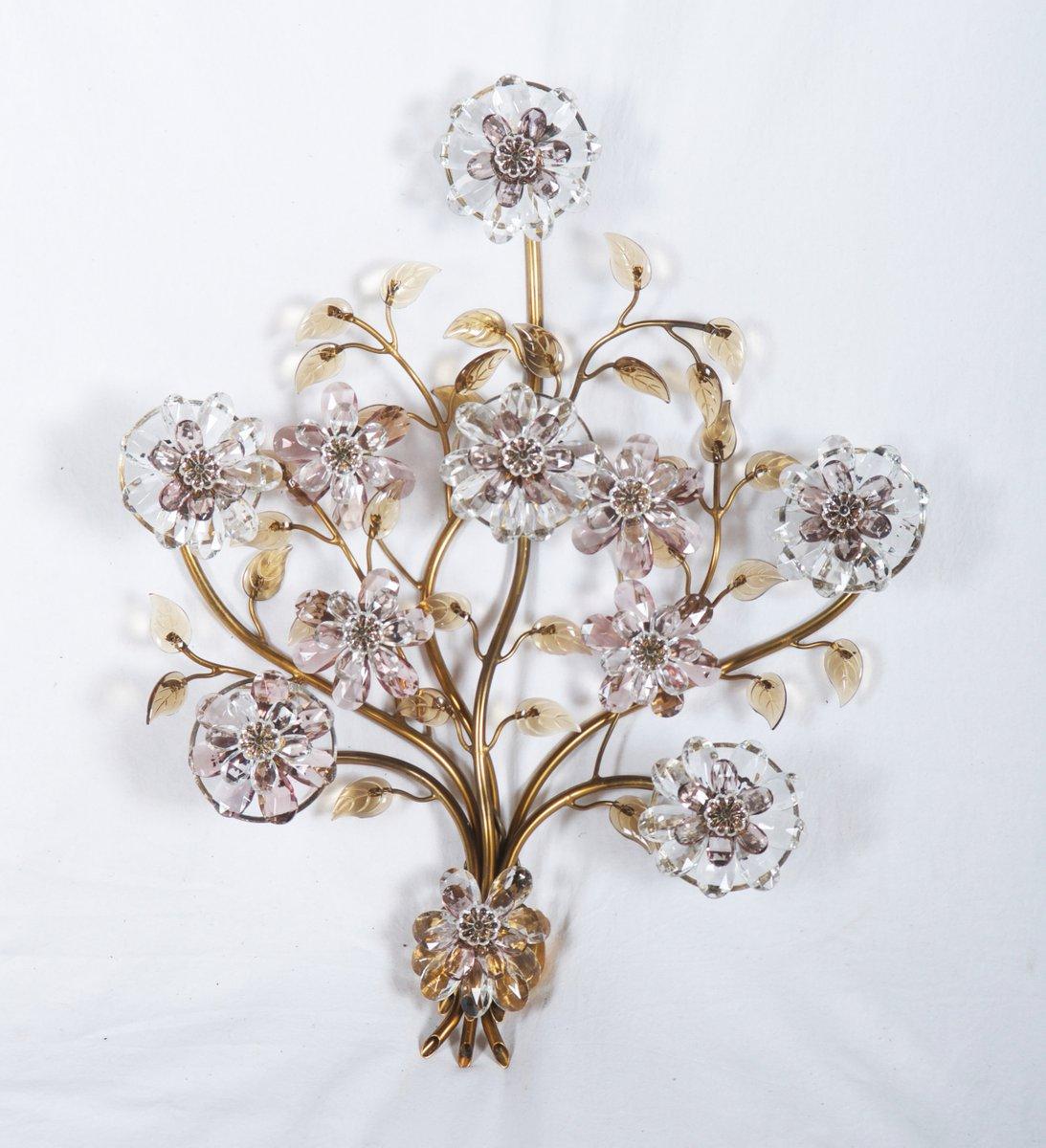 Wandlampe mit Glasblumen von Lobmeyr, 1950er