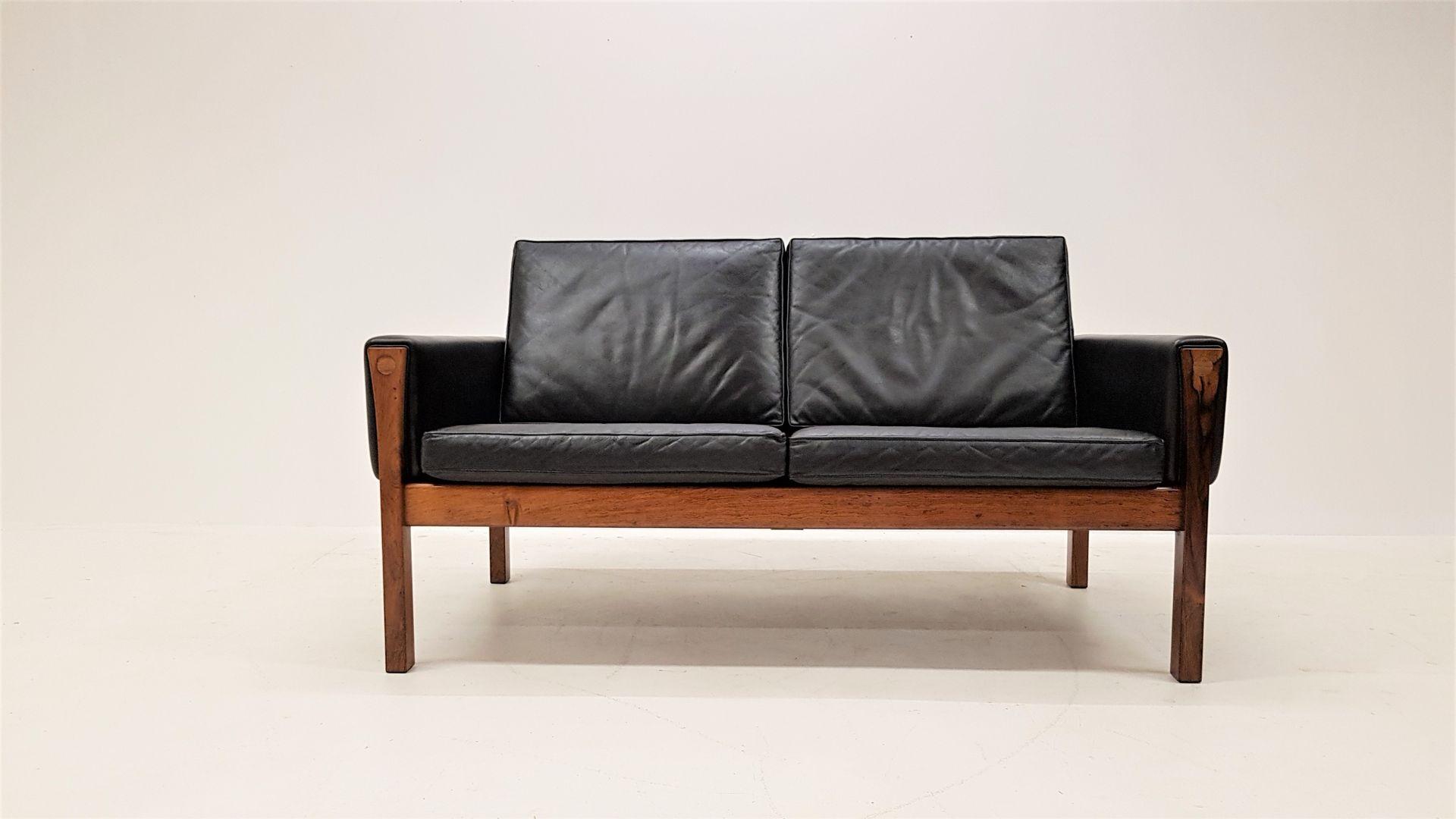 Brasilianisches AP 62 2-Sitzer Sofa aus Palisander & Leder von Hans J....