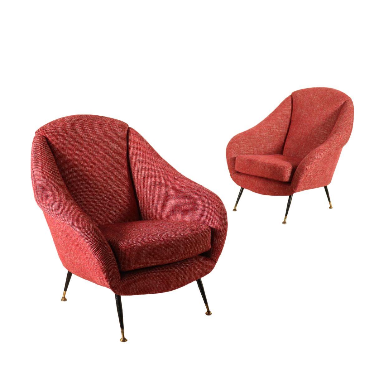 Italienische Sessel aus Stoff, Metall & Messing, 1960er, 2er Set