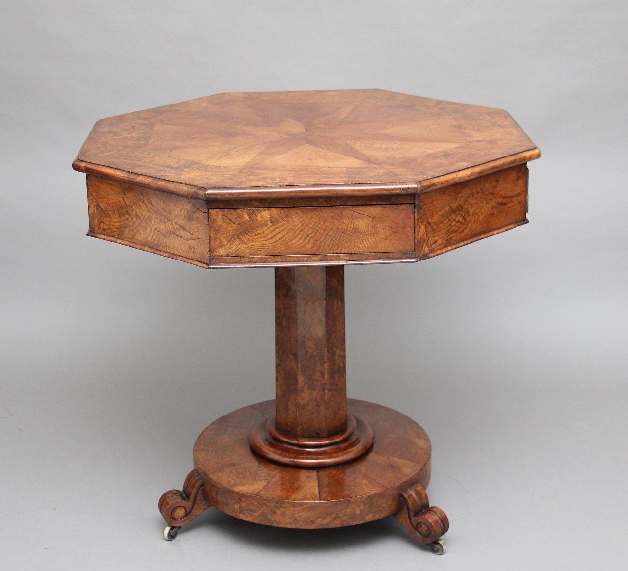 19th Century Pollard Oak Drum Table