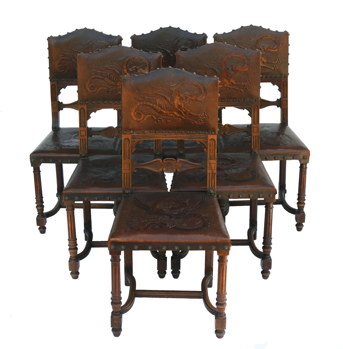 Antique Dining Chairs, 1890s, Set Of 6 For Sale At Pamono