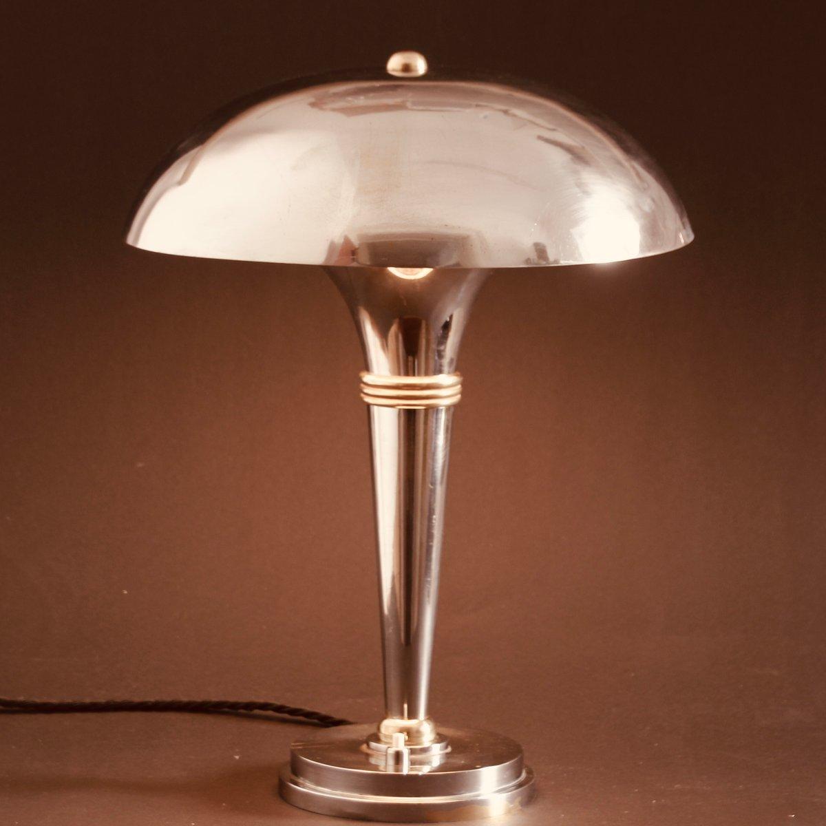 Verchromte französische Art Deco Tischlampe aus Messing, 1930er