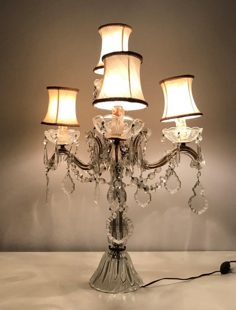 Vintage Crystal Candelabra Table Lamp For Sale At Pamono
