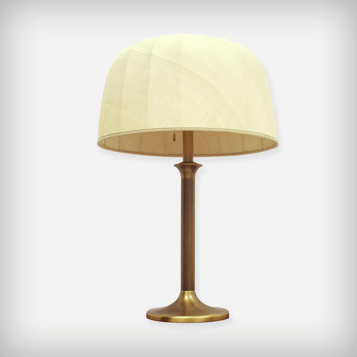 Große Schreibtischlampe aus Messing & Stoff, 1970er
