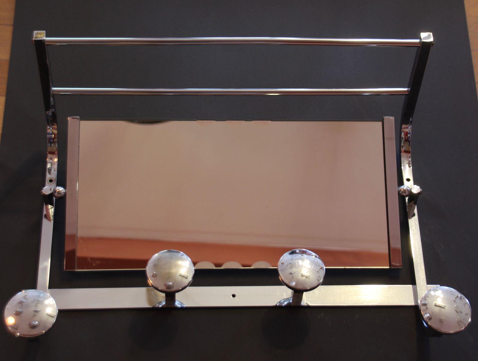 Französische Art Deco Garderobe aus Chrom mit Spiegel, 1930er   Flur & Diele > Spiegel > Garderobenspiegel   Silber