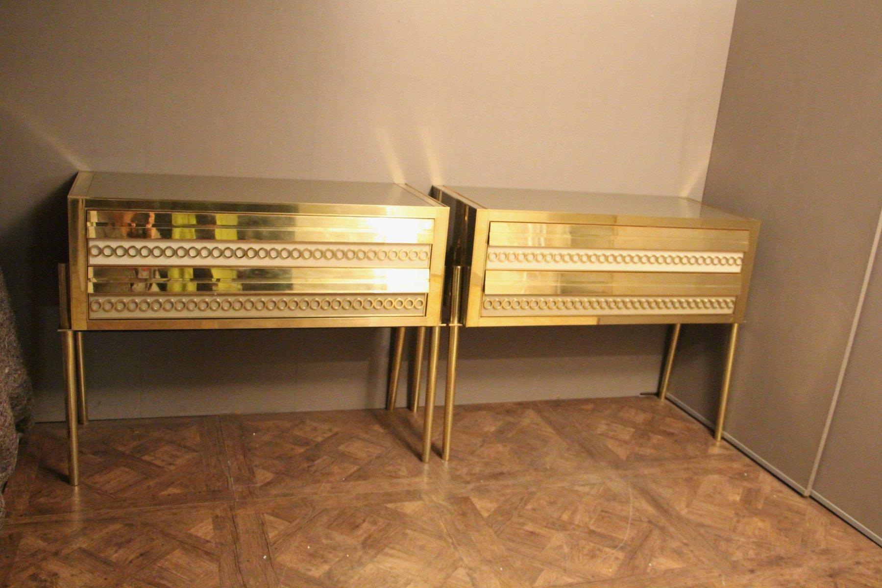Italienische Kommoden aus goldenem Messing & Muranoglas, 1970er, 2er S...