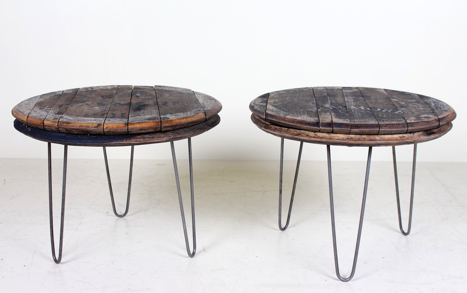Vintage Industrial Coffee Tables with Oak Whiskey Barrel Lids, Set of ...
