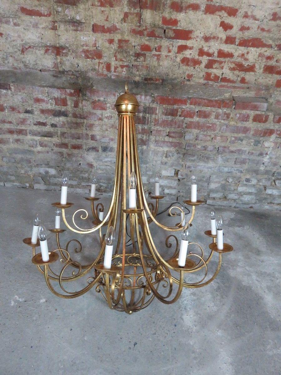 Vergoldeter Vintage Kronleuchter aus Gusseisen in Käfig-Optik
