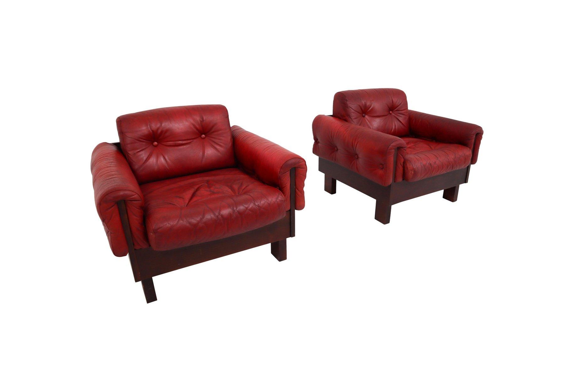 Österreichischer Sessel mit gestepptem Leder in Rot, 1970er