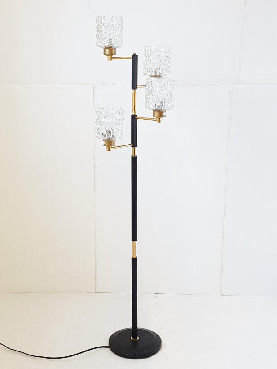 Französische Mid-Century Stehlampe aus Glas, Messing & Stahl, 1960er