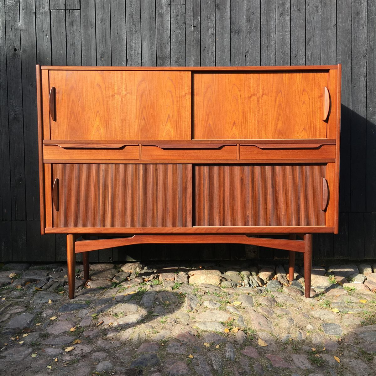 Danish Teak Highboard with Tambour Doors, 1960s