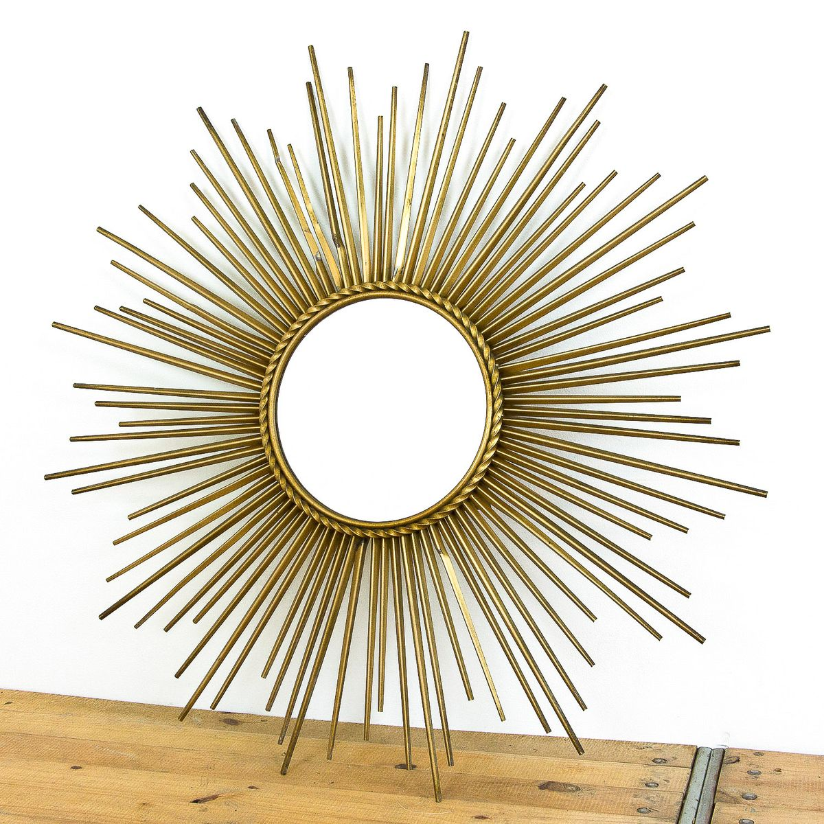 Mid Century Sunburst Mirror In Gold