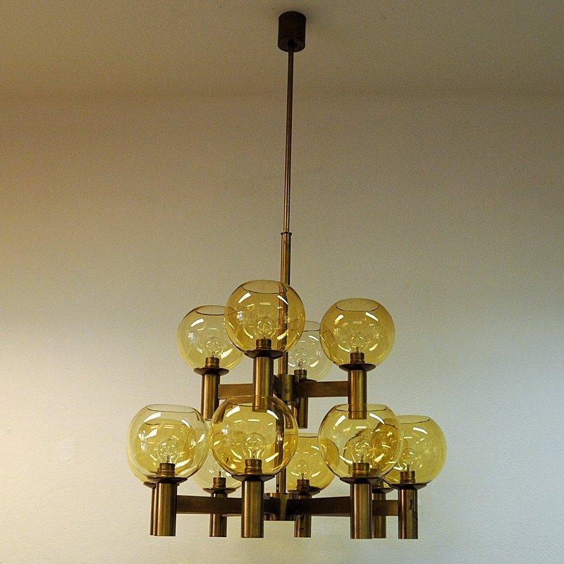 Mid-Century Brass & Glass Ceiling Lamp