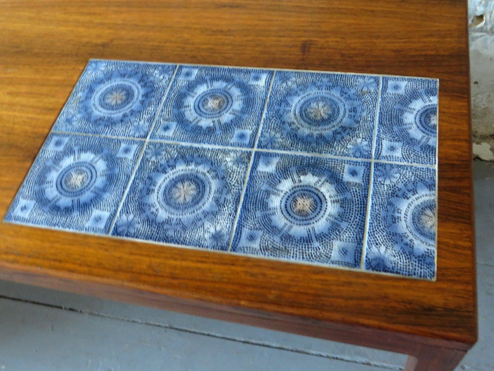 Tavolino da caffè in palissandro con piastrelle a mosaico in