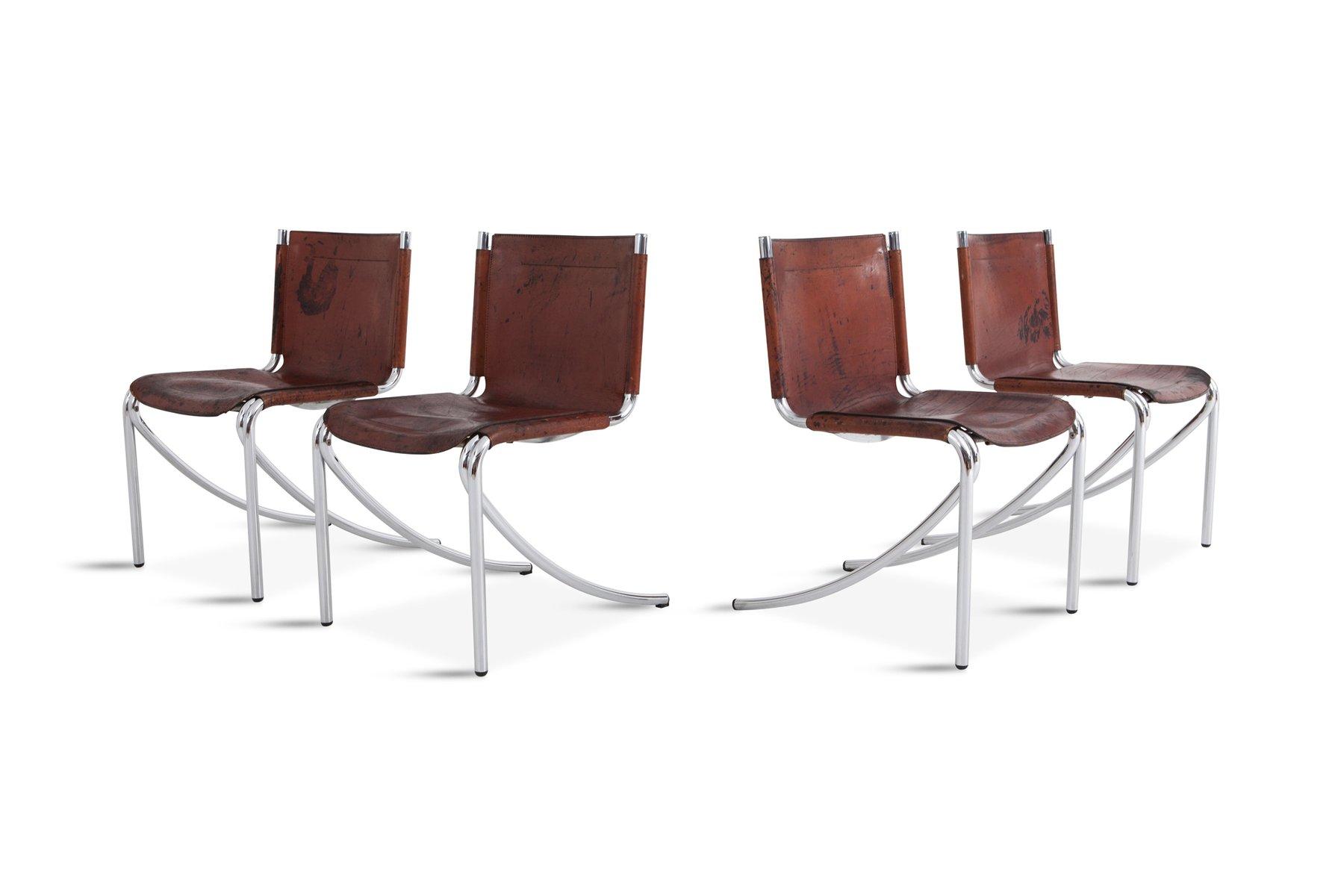 Sedie In Metallo Vintage : Sedie da pranzo jot vintage in pelle e metallo cromato di giotto