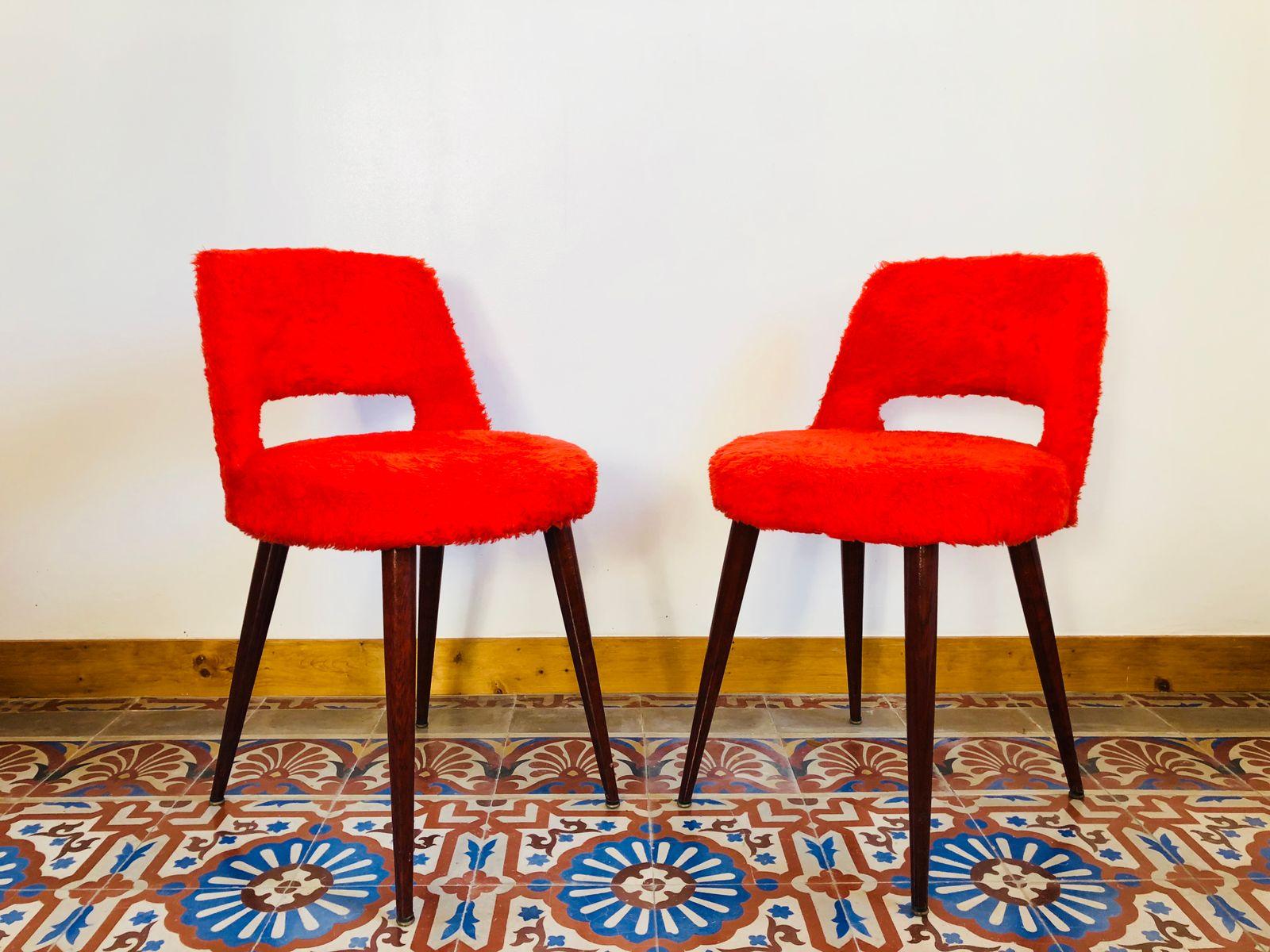 Rote Vintage Stühle, 1950er, 2er Set