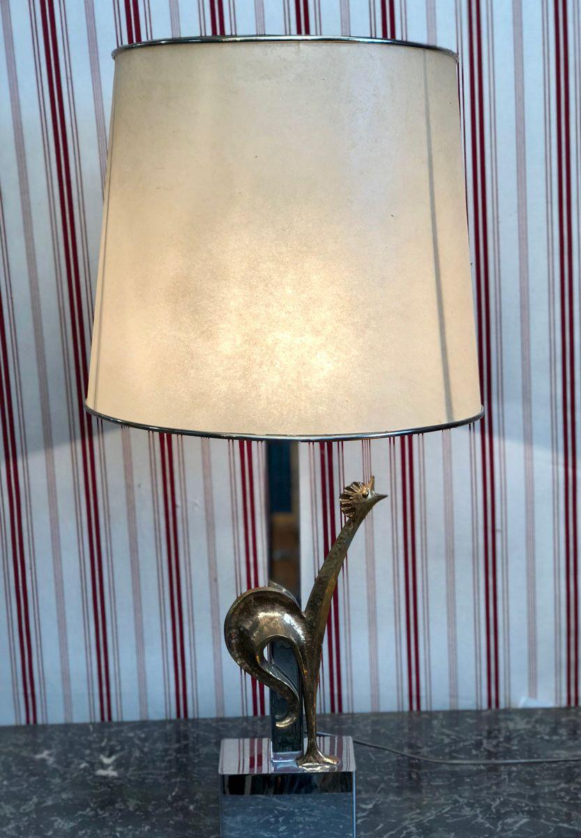 Versilberte Vintage Tischlampe aus Bronze