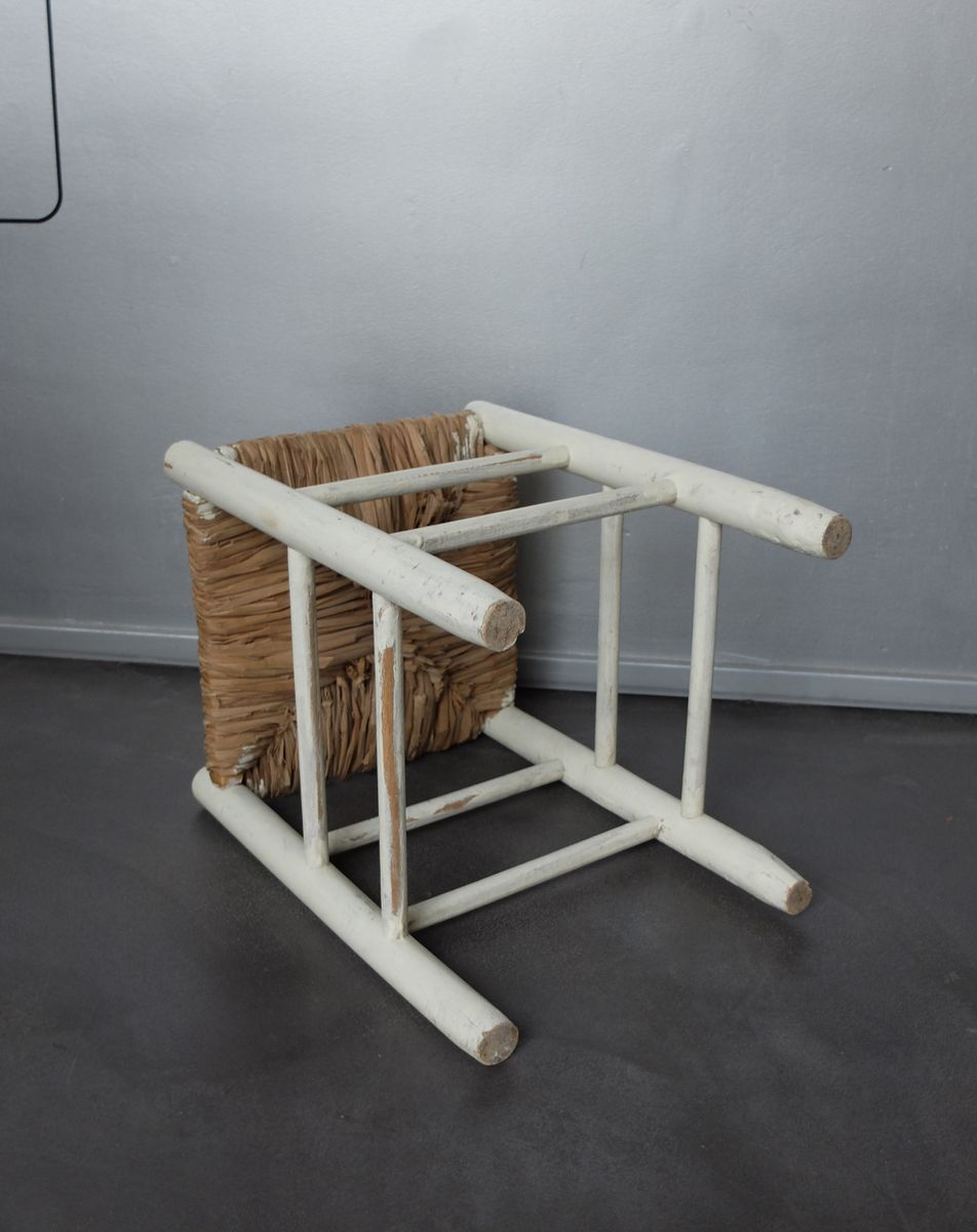 vintage nr 17 strohhocker von charlotte perriand f r l. Black Bedroom Furniture Sets. Home Design Ideas