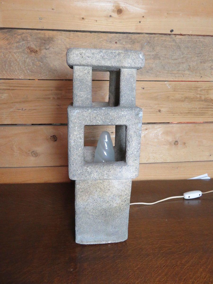 Vintage Space Age Stone Lamp by Albert Tormos