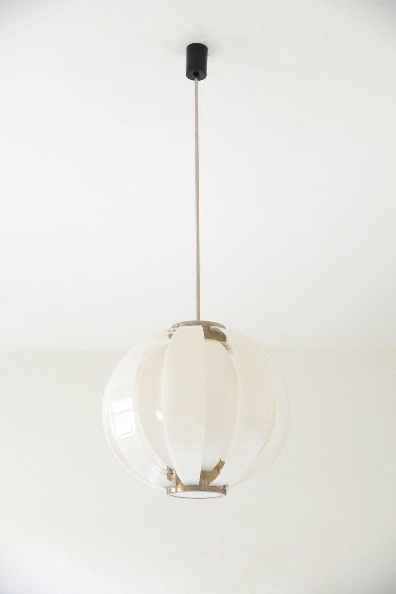 Große weiße Deckenlampe aus Plexiglas von Arredoluce, 1956