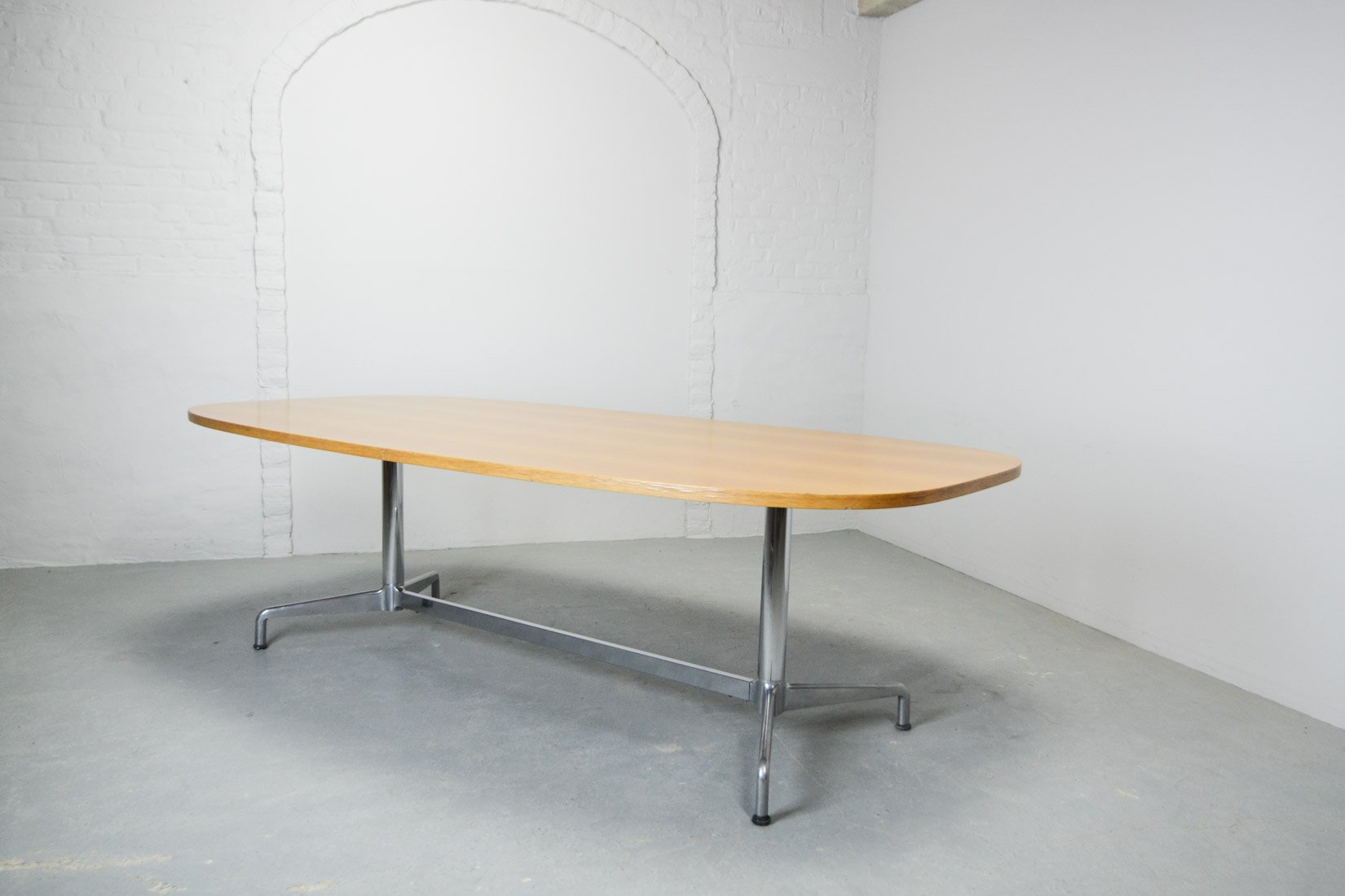 Large Mid-Century Wooden Conference Table by Charles & Ray Eames for H...