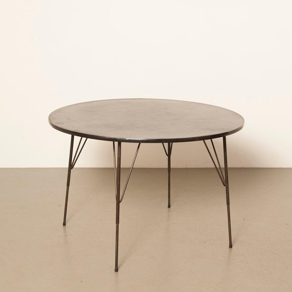 Runder schwarzer Vintage Tisch von Rudolf Wolf für Elsryk