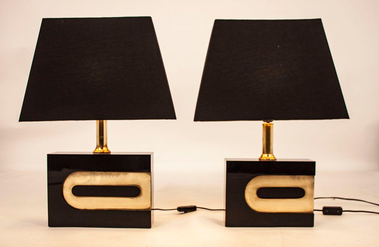 Schwarz lackierte Tischlampen, 1970er, 2er Set
