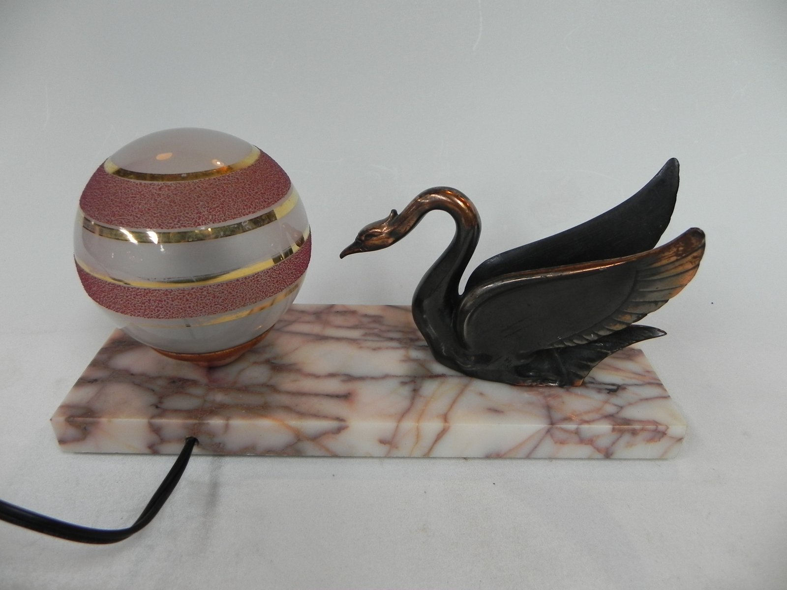 art deco tischlampe aus glas marmor 1930er bei pamono kaufen. Black Bedroom Furniture Sets. Home Design Ideas